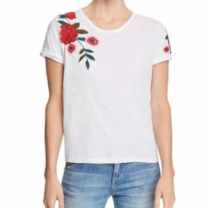 Joe's Jeans Womens T-Shirt Embroidered Floral